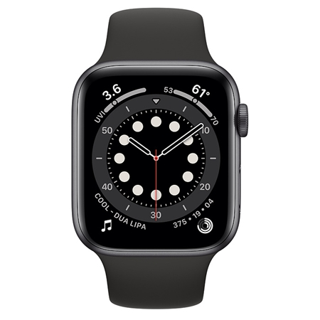 Apple Watch series 6 44mm space gray met zwart sportband