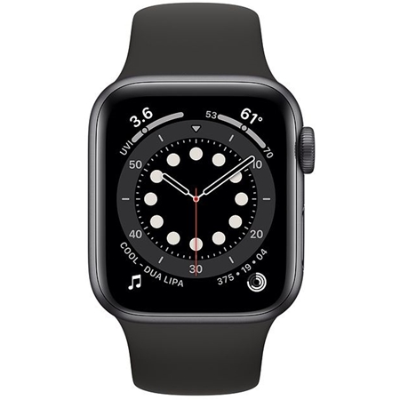 Apple Watch series 6 40mm space gray met zwart sportband