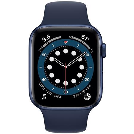Apple Watch series 6 44mm blauw met donkerblauw sportband