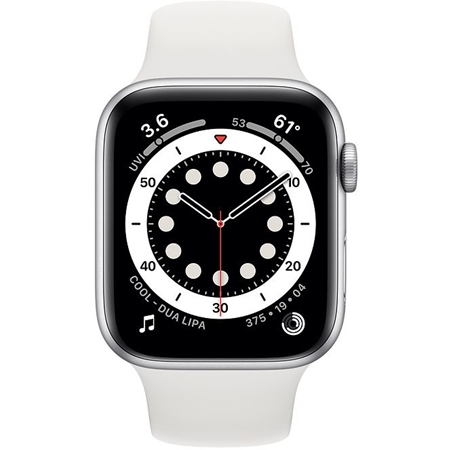 Apple Watch series 6 40mm zilver met witte sportband