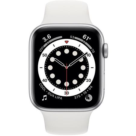 Apple Watch series 6 44mm zilver met witte sportband