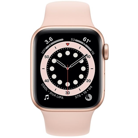 Apple Watch series 6 44mm goud met roze sportband