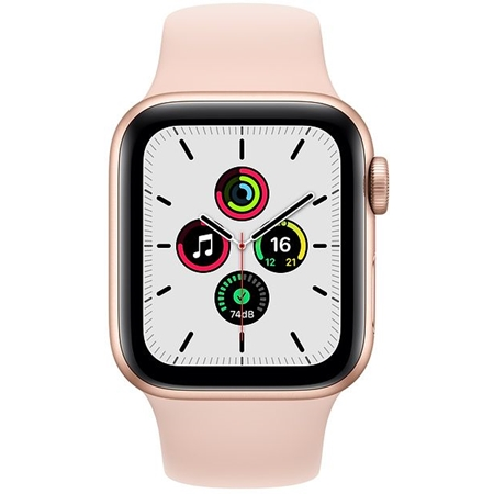 Apple Watch SE GPS 44mm goud met roze sportband