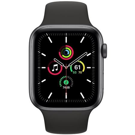 Apple Watch SE GPS 44mm space grey met zwarte sportband