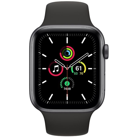 Apple Watch SE GPS 40mm space grey met zwarte sportband