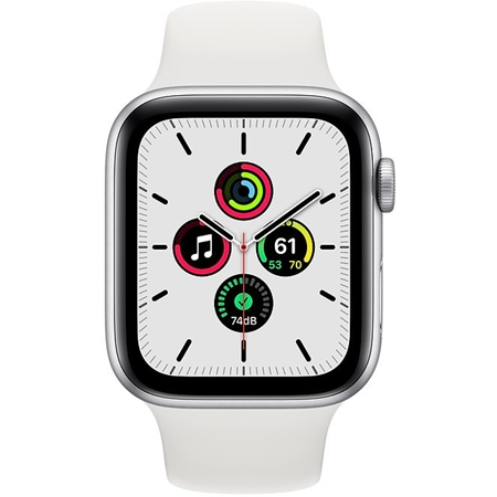 Apple Watch SE GPS 44mm zilver met witte sportband