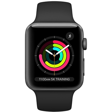 Apple Watch series 3 38mm grijs aluminium met zwart sportband