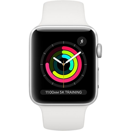 Apple Watch series 3 42 mm zilver aluminium met witte sportband