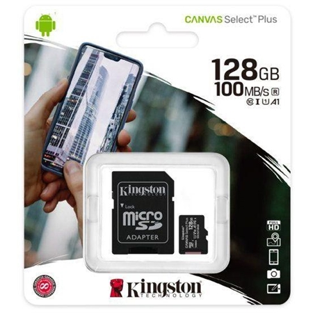 Kingston micSDXC Canvas Select Plus 100R A1 C10 Card + ADP 128GB