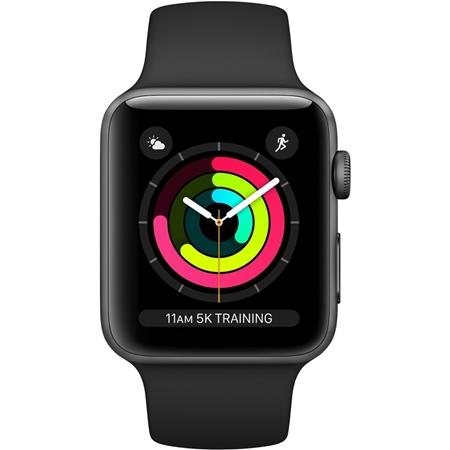 Apple Watch 3 serie 42 mm space grey aluminium met zwart sportband