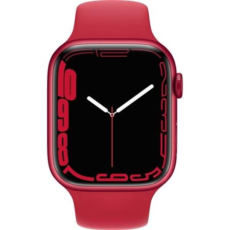 Apple Watch Series 7 rood aluminium rode sportband 45mm