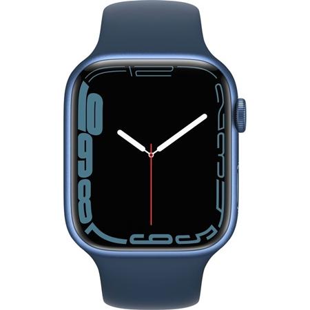 Apple Watch Series 7 blauw aluminium blauwe sportband 45mm