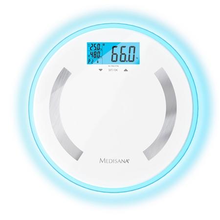 Medisana BS470 personenweegschaal met lichaamsanalyse wit-blauw Weegschaal