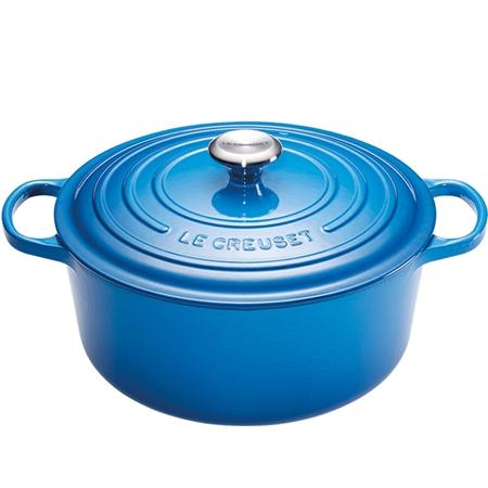 Le Creuset Ronde Braad-/Stoofpan (24 cm) Marseilleblauw