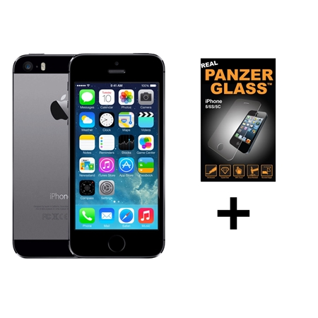 Apple iPhone 5S Refurbished Space Gray + Panzerglas cover