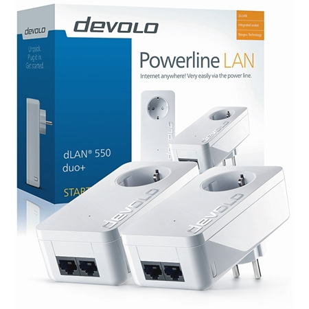 Devolo dLAN 550 Duo+ Geen WiFi 500 Mbps powerline 2 adapters