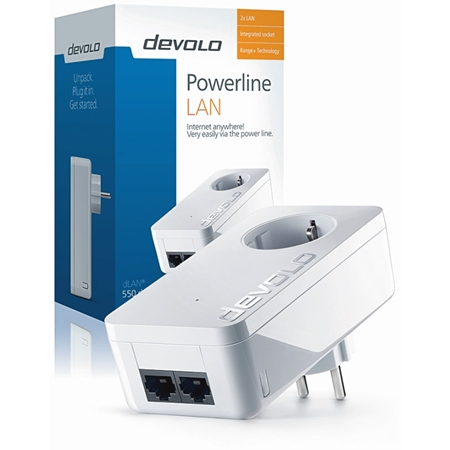 Devolo dLAN 550 Duo+ Geen WiFi 500 Mbps Powerline uitbreiding