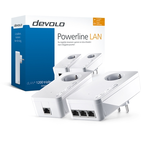 Devolo dLAN 1200 triple+ Geen wifi 1200 Mbps powerline 2 adapters