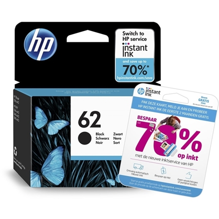 HP 62 originele zwarte inktcartridge met gratis 2 maanden instant ink