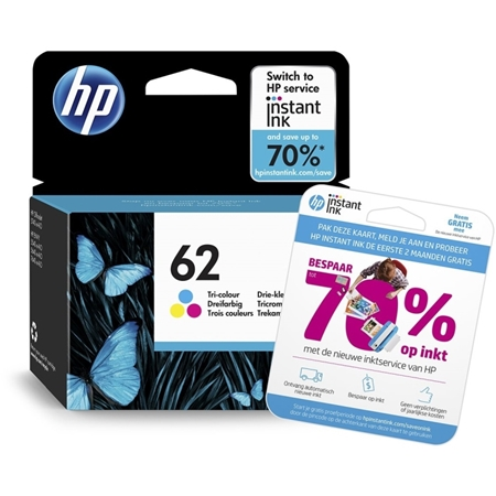 HP 62 originele drie-kleuren inktcartridge met gratis 2 maanden instant ink