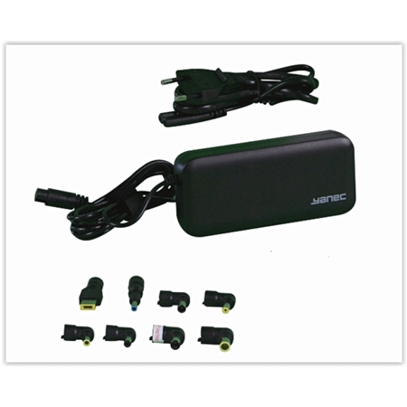Yanec Universele Laptop AC Adapter 65W met 8 tips zwart