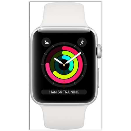 Apple Watch 3 serie 42 mm zilver aluminium met witte sportband