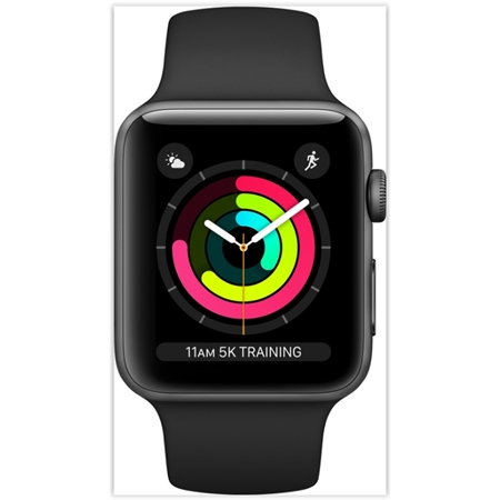 Apple Watch 3 serie 42 mm space grey aluminium met zwart sportband