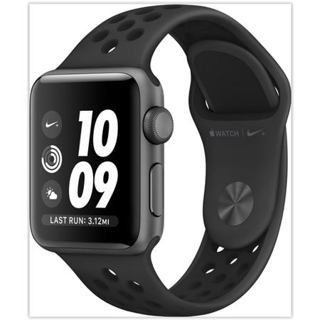 Apple Watch 3 serie 38mm Space grey Aluminium met zwarte Nike band