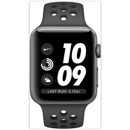 Apple Watch 3 serie 42mm Space grey Aluminium met zwarte Nike band