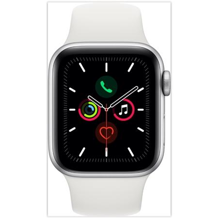 Apple Watch Series 5 40mm - White Sport Band Silver Aluminium