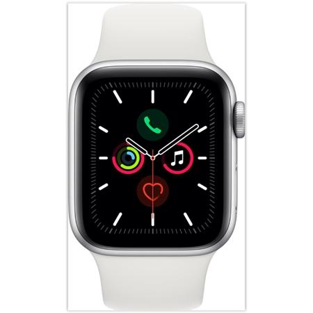 Apple Watch Series 5 44mm zilver met witte band