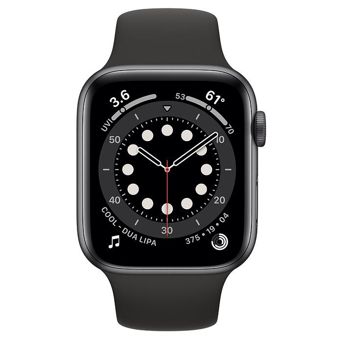 Apple Watch series 6 44mm space gray met zwart sportband