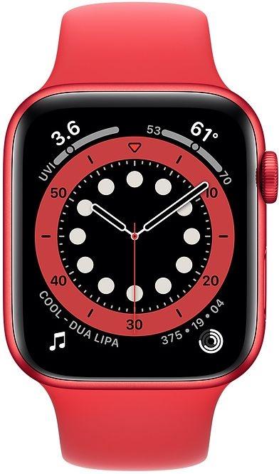 Apple Watch series 6 44mm rood met rode sportband