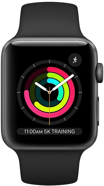 Apple Watch series 3 38mm grijs aluminium met zwart sportband